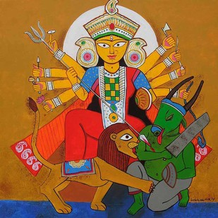 "Durga, Acrylic on Canvas, Blue, Red, Green Colours by Contemporary Artist ""In Stock"" by Ashoke Mullick, Expressionism Painting, Acrylic on Canvas, Brown color"