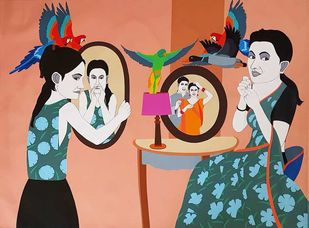 "Mirror Couple, Acrylic on Canvas, Red, Orange, Green Colours ""In Stock"" by Farhad Hussain, Pop Art Painting, Acrylic on Canvas, Brown color"