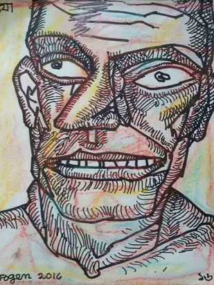 """Face of a Man, Pastel and Ink on Paper, Black, Brown, Yellow Colours by Modern Artist """"In Stock"""" by Jogen Chowdhury, Illustration Drawing, Ink & Pastels on Paper, Gray color"""