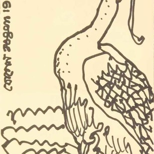 "Untitled, Drawing, Ink on Postcard by Modern Artist ""In Stock"" by Jogen Chowdhury, Illustration Drawing, Ink on Paper, Beige color"