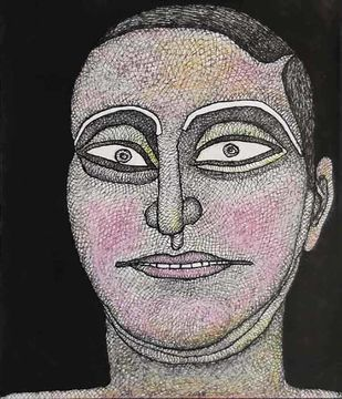 """Untitled, Ink, Watercolour and Pastel on Paper by Modern Indian Artist """"In Stock"""" by Jogen Chowdhury, Illustration Painting, Watercolor & Ink on Paper, Gray color"""