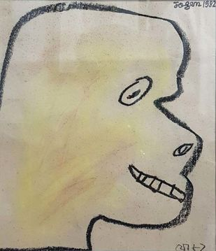 """Untitled, Pastel on Paper Yellow, Black Colours by Modern Artist """"In Stock"""" by Jogen Chowdhury, Illustration Drawing, Pastel on Paper, Beige color"""