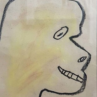 "Untitled, Pastel on Paper Yellow, Black Colours by Modern Artist ""In Stock"" by Jogen Chowdhury, Illustration Drawing, Pastel on Paper, Beige color"