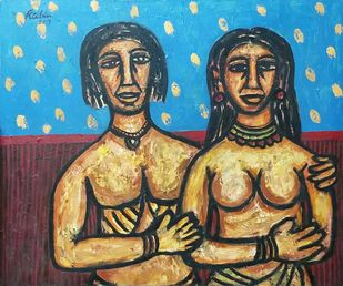 """Couple, Oil on Canvas, Red, Blue, Yellow Colours by Modern Artist """"In Stock"""" by Rabin Mondal, Expressionism Painting, Oil on Canvas, Brown color"""