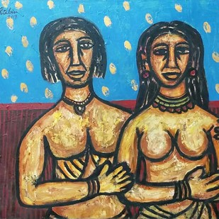 "Couple, Oil on Canvas, Red, Blue, Yellow Colours by Modern Artist ""In Stock"" by Rabin Mondal, Expressionism Painting, Oil on Canvas, Brown color"