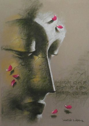 "Yugpurush, Pastel on Paper by Contemporary Artist ""In Stock"" by Sanatan Dinda, Expressionism Painting, Pastel on Paper, Brown color"