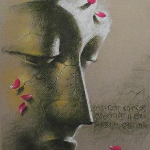Yugpurush by Sanatan Dinda, Expressionism Painting, Pastel on Paper, Brown color