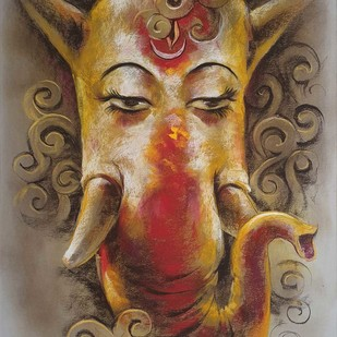 Ganesha by Sanatan Dinda, Expressionism Painting, Dry Pastel on Paper, Brown color