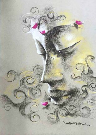 "Yugpurush, Conte & Dry Pastel on Paper by Contemporary Artist ""In Stock"" by Sanatan Dinda, Expressionism Painting, Dry Pastel on Paper, Gray color"