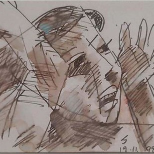"""Untitled, Ink on Paper by Modern Artist """"In Stock"""" by Somnath Hore, Illustration Painting, Ink on Paper, Brown color"""