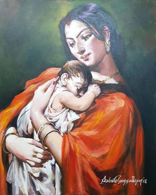 """Mother & Child Series, Acrylic on Canvas, Red, Orange, Black, Blue Colours by Contemporary Artist """"In Stock"""" by Subrata Gangopadhyay, Expressionism Painting, Acrylic on Canvas, Brown color"""