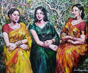 """Three Woman, Acrylic on Canvas, Red, Green, Yellow Colours by Contemporary Artist """"In Stock"""" by Subrata Gangopadhyay, Expressionism Painting, Acrylic on Canvas, Brown color"""