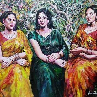 "Three Woman, Acrylic on Canvas, Red, Green, Yellow Colours by Contemporary Artist ""In Stock"" by Subrata Gangopadhyay, Expressionism Painting, Acrylic on Canvas, Brown color"