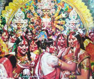 Sindur Khela by Subrata Gangopadhyay, Expressionism Painting, Acrylic on Canvas, Brown color