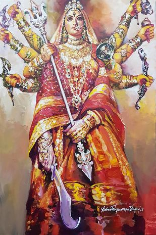 """Durga, Acrylic on Canvas, Red, Yellow, Orange Colours by Contemporary Artist """"In Stock"""" by Subrata Gangopadhyay, Expressionism Painting, Acrylic on Canvas, Brown color"""