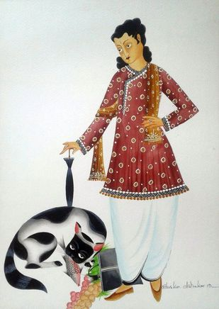 The Babu and his Cat by Bhaskar Chitrakar, Folk Painting, Natural colours on paper, Gray color