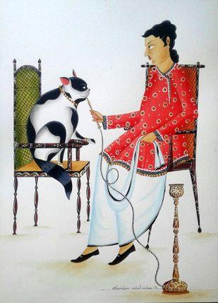 Babu feeding hookah to his Cat by Bhaskar Chitrakar, Folk Painting, Natural colours on paper, Gray color