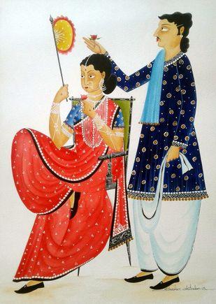 Babu romancing Bibi with a rose by Bhaskar Chitrakar, Folk Painting, Natural colours on paper, Gray color