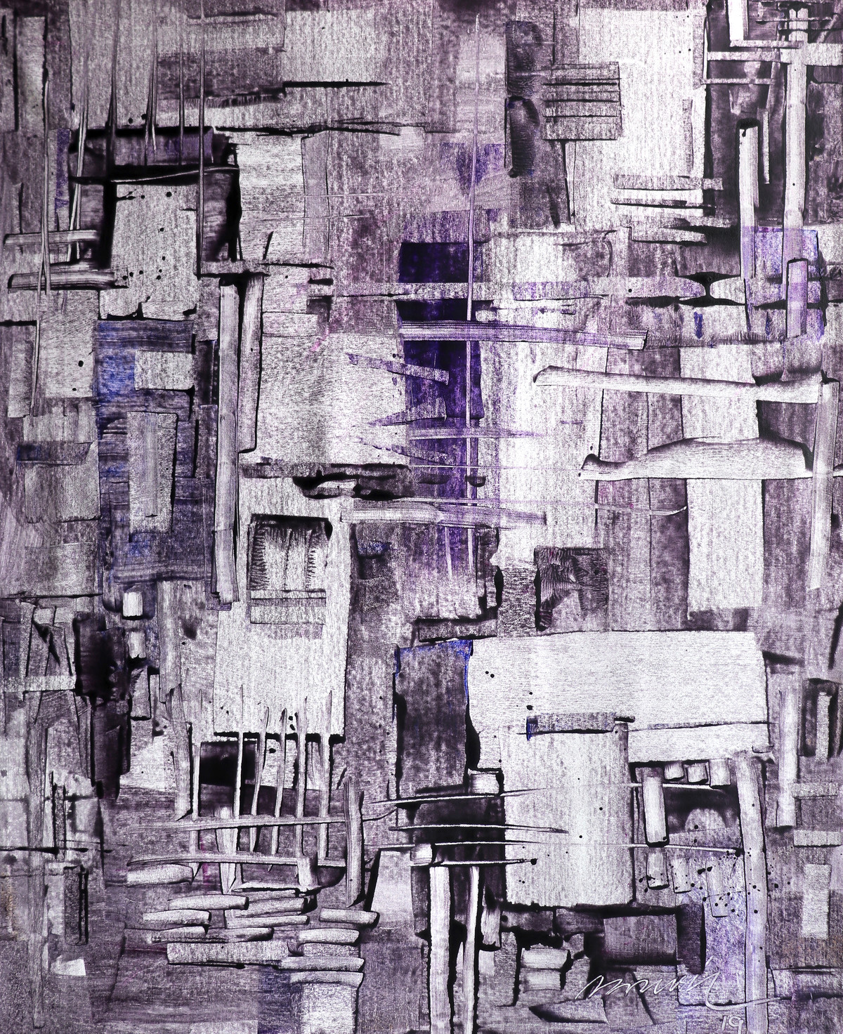 Old City by A.R.Ramesh, Abstract Painting, Acrylic on Canvas, Brown color
