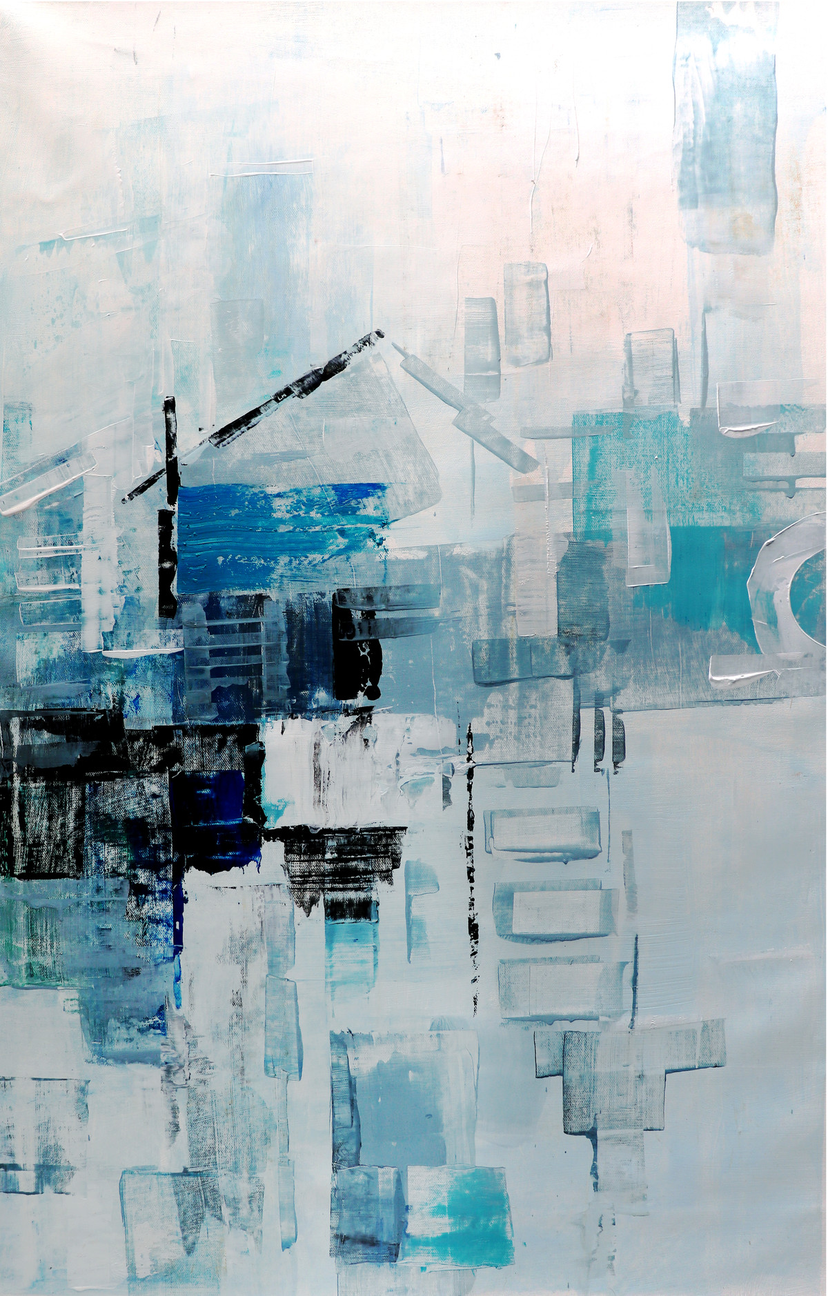 Street 1 by A.R.Ramesh, Abstract Painting, Acrylic on Canvas, Cyan color