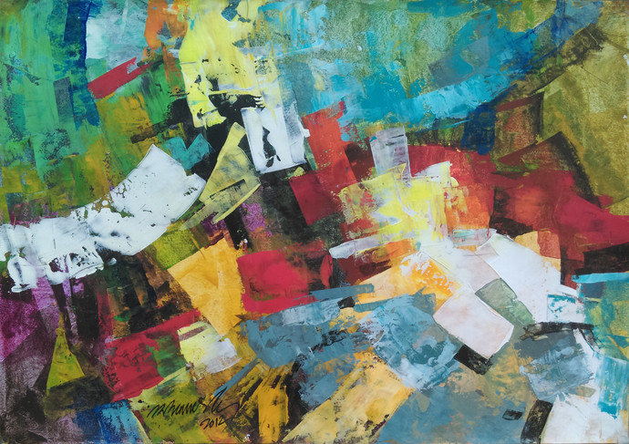 Landscape by A.R.Ramesh, Abstract Painting, Acrylic on Paper, Green color