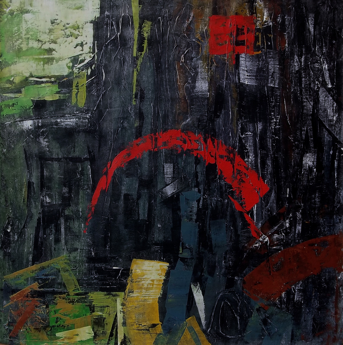 Street in panic Dark by A.R.Ramesh, Abstract Painting, Acrylic on Canvas, Gray color