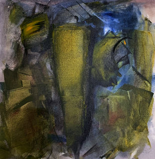 Shree Ganesh by Amit Pithadia, Abstract Painting, Acrylic on Canvas, Green color