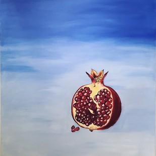 The Sky & Me by Gurbaz Kaur , Surrealism Painting, Acrylic on Canvas, Cyan color