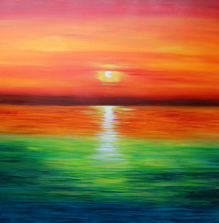 Orange Glow by Shveta Saxena, Impressionism Painting, Acrylic on Canvas, Green color