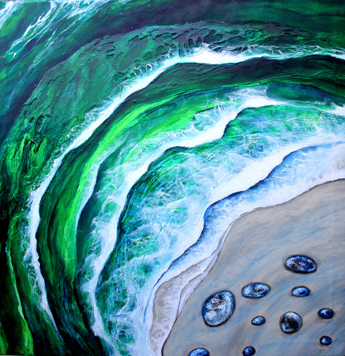 Viridian Hues by Shveta Saxena, Impressionism Painting, Acrylic on Canvas, Cyan color