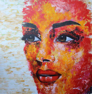 Wistful by Shveta Saxena, Expressionism Painting, Acrylic on Canvas, Brown color