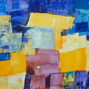 houses by A.R.Ramesh, Abstract Painting, Acrylic on Board, Blue color