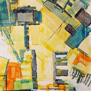 The City 2 by A.R.Ramesh, Abstract Painting, Acrylic on Canvas, Beige color