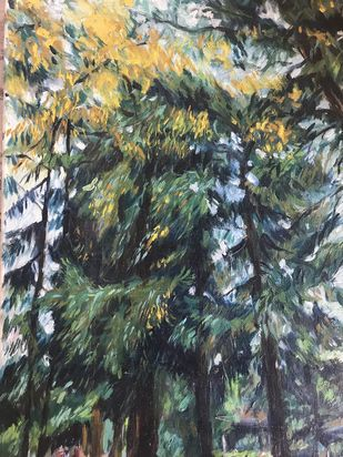 Trees-2 by Sujata Khanolkar, Impressionism Painting, Acrylic on Canvas, Green color
