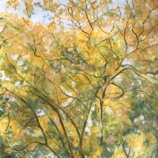 Trees-4 by Sujata Khanolkar, Impressionism Painting, Ink on Paper, Beige color