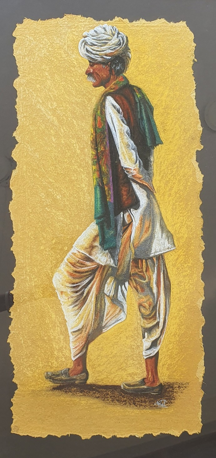Rural life by Netal Rathore, Expressionism Painting, Dry Pastel on Paper, Beige color