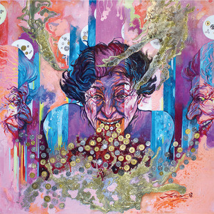 kaleidotunes (psychedelic vomit) by Biswajit Das, Impressionism Painting, Mixed Media on Canvas, Brown color