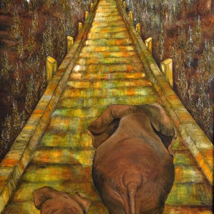 """""""With my Daughter"""" by Manissha Khanna, Impressionism Painting, Oil on Canvas, Brown color"""