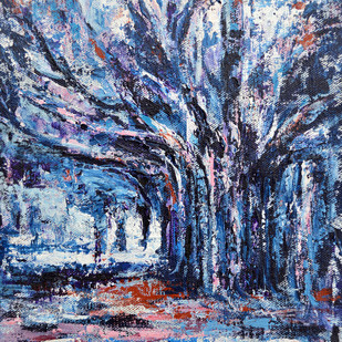 Willowy by Usha Shantharam, Abstract Painting, Acrylic on Canvas, Blue color