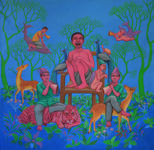 In Garden,Social Reformation by Partha Mondal, Surrealism Painting, Oil & Acrylic on Canvas, Blue color