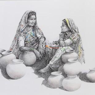 Gossip by Milind Ambadas Varangaonkar, Illustration Painting, Mixed Media on Paper, Gray color