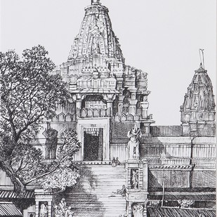 Temple by Milind Ambadas Varangaonkar, Illustration Painting, Mixed Media on Paper, Gray color