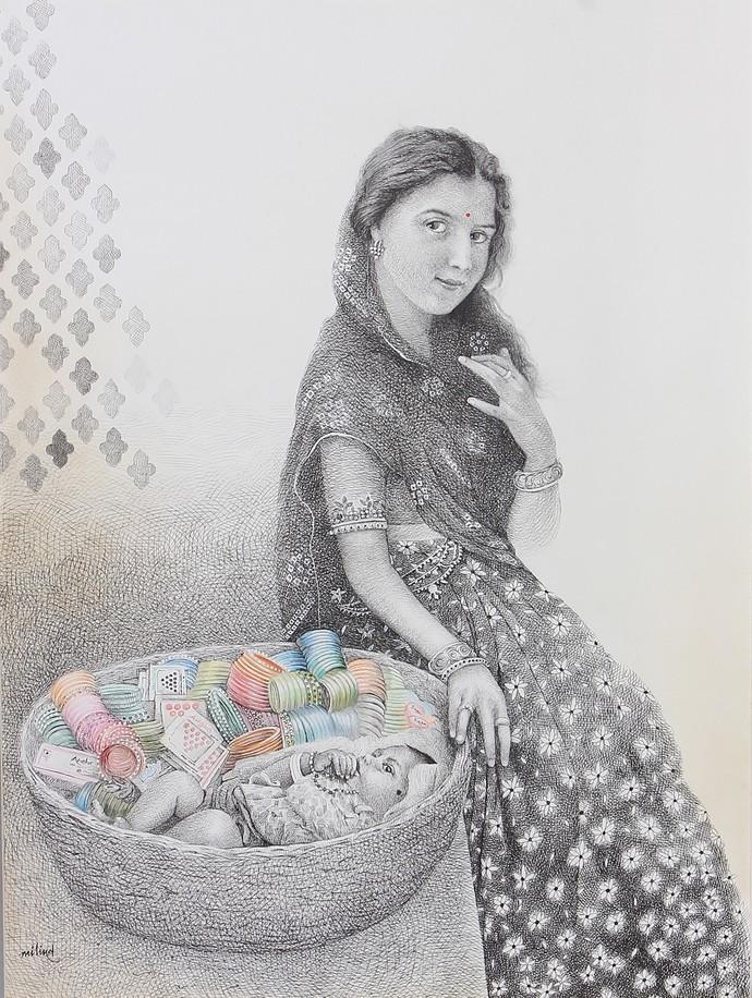 Churdi Wali by Milind Ambadas Varangaonkar, Illustration Painting, Mixed Media on Paper, Gray color