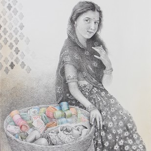 Churdi Wali by Milind Ambadas Varangaonkar, Illustration Painting, Mixed Media on Paper, Gray color