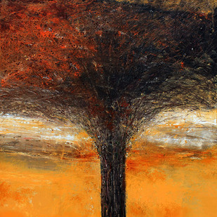 Tree Of Life by Bhaskara Rao Botcha, Expressionism Painting, Acrylic on Canvas, Brown color