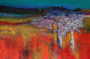 Untitled by Bhaskara Rao Botcha, Expressionism Painting, Acrylic on Canvas, Brown color