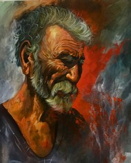 Labour by Mk goyal, Impressionism Painting, Acrylic on Canvas, Brown color