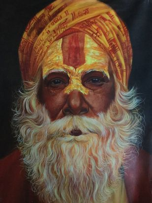 Sadhu by Mk goyal, Expressionism Painting, Acrylic on Canvas, Brown color
