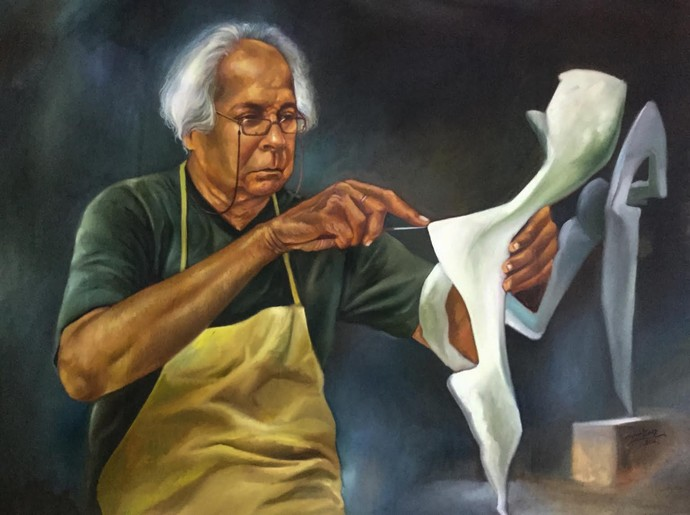 Dedication by Mk goyal, Realism Painting, Oil on Canvas, Gray color