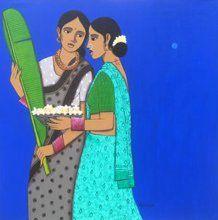 two friends by Nagesh Ghodke, Expressionism Painting, Acrylic on Canvas, Blue color